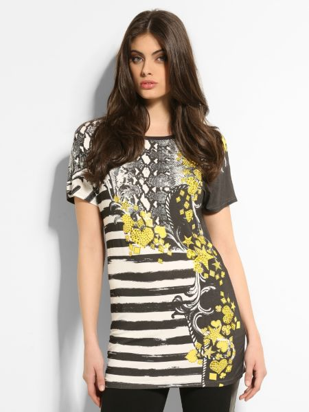 Marciano stripe and python maxi t-shirt.