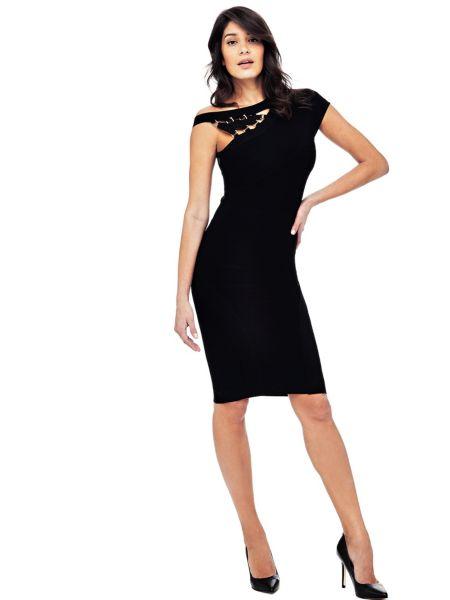 One-Shoulder-Kleid Marciano | Bekleidung > Kleider > One Shoulder-Kleider | Schwarz | Viskose - Polyamid | Guess