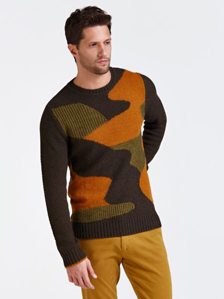 Pullover Intarsien Tarnmuster-Design Marciano | Bekleidung > Pullover > Sonstige Pullover | Polyacryl - Wolle | Guess