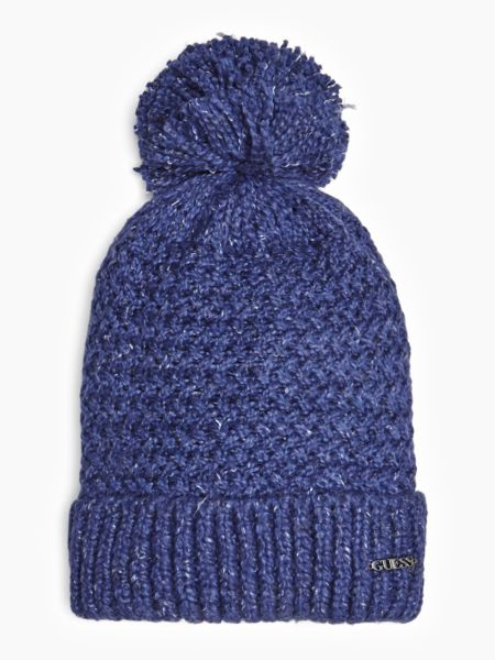 Mütze Pompon Logo | Accessoires > Mützen > Bommelmützen | Blau | Polyacryl - Baumwolle | Guess