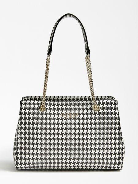 Schultertasche Robyn Hahnentritt | Taschen | Mehrfarbig schwarz | Baumwolle | Guess