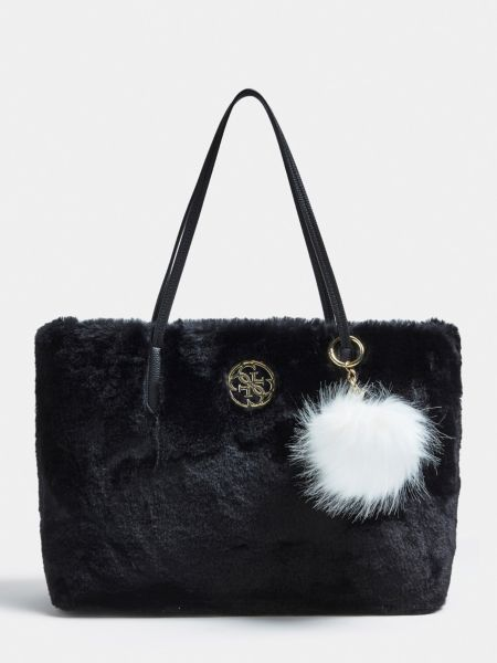 Shopper Lavi Kunstfell | Taschen > Handtaschen | Schwarz | Baumwolle | Guess