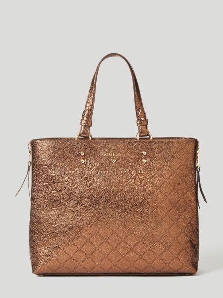 Shopper Margot Metallic-Leder | Taschen > Handtaschen | Bronze | Baumwolle | Guess
