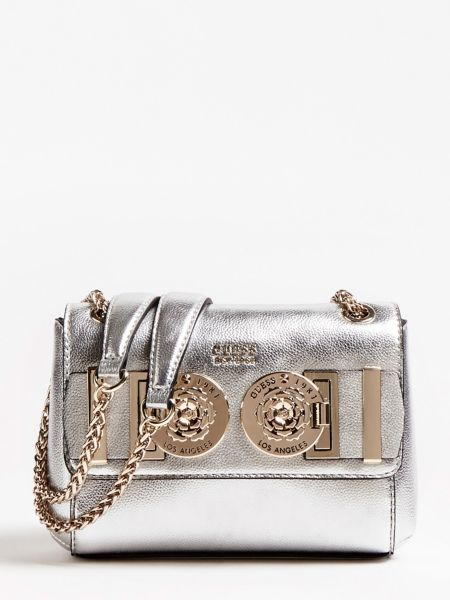 Mini-Umhängetasche Carina Metallic-Optik   Taschen > Handtaschen > Umhängetaschen   Silber   Baumwolle   Guess