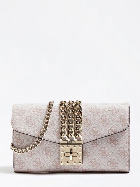 Clutch Prisma Logoprint   Taschen > Handtaschen > Clutches   Mehrfarbe rose   Baumwolle   Guess