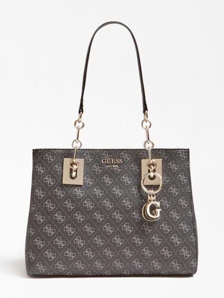 Schultertasche Logo Rock | Taschen > Handtaschen > Schultertaschen | Mehrfarbig grau | Baumwolle | Guess