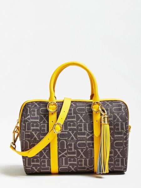 Handtasche Sophie Echtes Leder | Taschen > Handtaschen > Sonstige Handtaschen | Mehrfarbig braun | Baumwolle | Guess