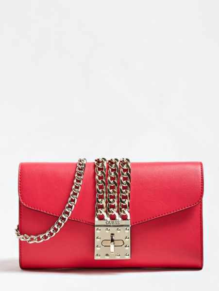 Clutch Prisma Kettendetail   Taschen > Handtaschen > Clutches   Rot   Baumwolle   Guess