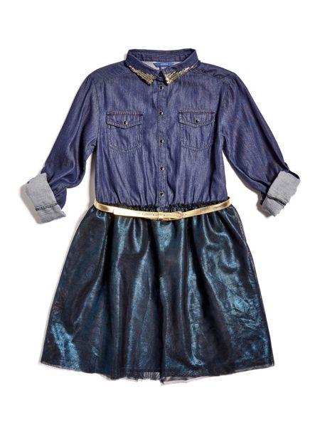 Imagen principal de producto de Vestido Denim Falda En Contraste - Guess
