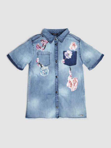 Jeansbluse Blumen Pailletten | Bekleidung > Blusen > Jeansblusen | Mehrfarbig -  grundton blau | Baumwolle | Guess