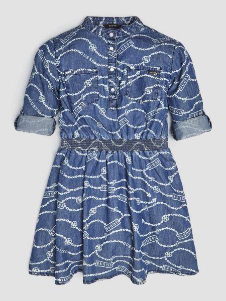 Jeanskleid Kettchenprint | Bekleidung > Kleider > Jeanskleider | Mehrfarbig -  grundton blau | Guess