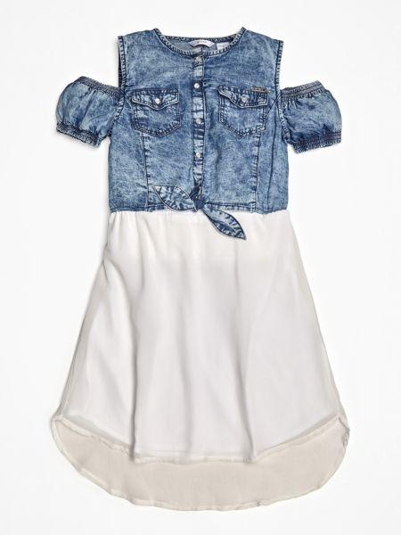 Jeanskleid Schulterfrei | Bekleidung > Kleider > Jeanskleider | Mehrfarbig -  grundton blau | Guess