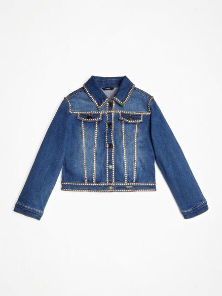 Jeansjacke Schmuckapplikationen | Bekleidung > Jacken > Jeansjacken | Blau | Baumwolle | Guess