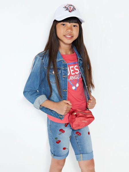 Jeansshorts Kirschen-Stickereien | Bekleidung > Jeans > Shorts & Bermudas | Blau | Baumwolle - Polyester - Elastan | Guess