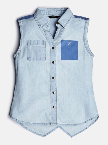 Jeansbluse Asymmetrischer Saum | Bekleidung > Blusen > Jeansblusen | Himmelblau | Guess