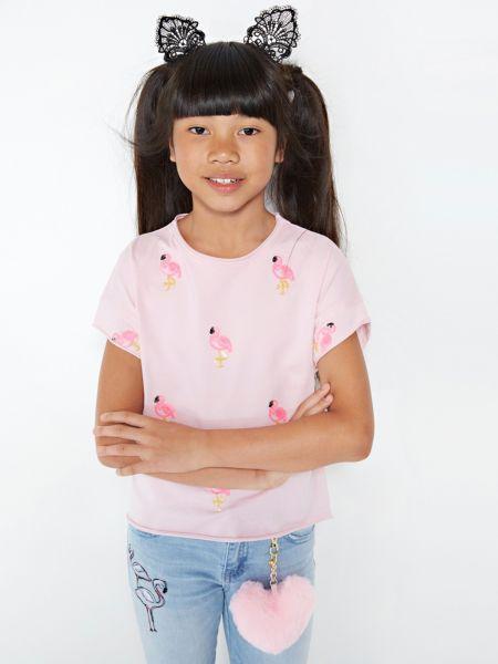T-Shirt Paillettenbesatz   Bekleidung > Shirts > T-Shirts   Rose   Baumwolle   Guess