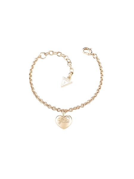 Hearts and roses heart stone yellow gold-plated bracelet.