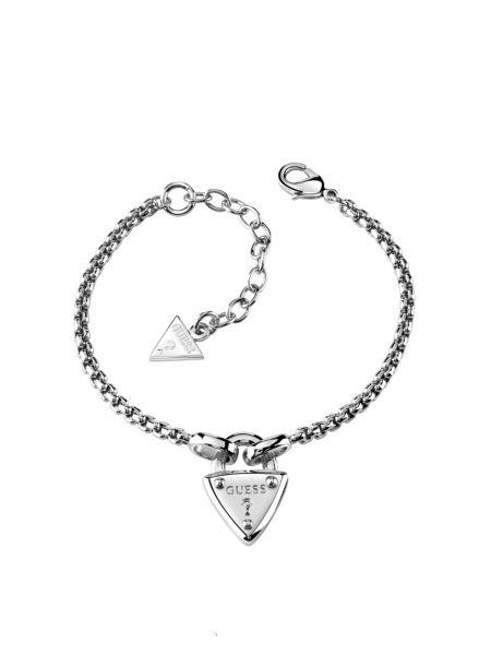 The secret key logo triangle lock rhodium-plated bracelet.