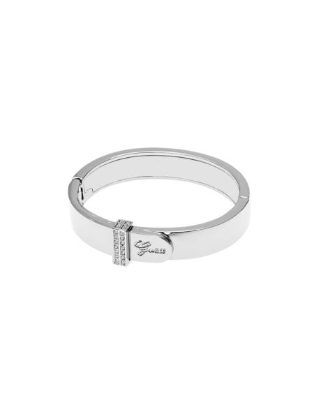 Guess absolute logo mini pave rhodium-plated bangle bracelet.