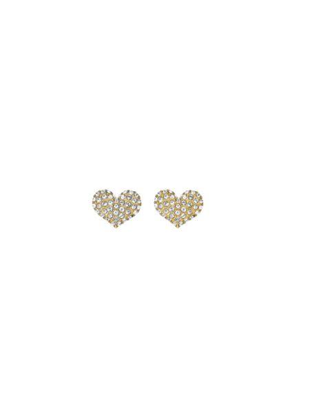 Basic Instinct E-Mini Heart Stud Gold-Plated Earrings
