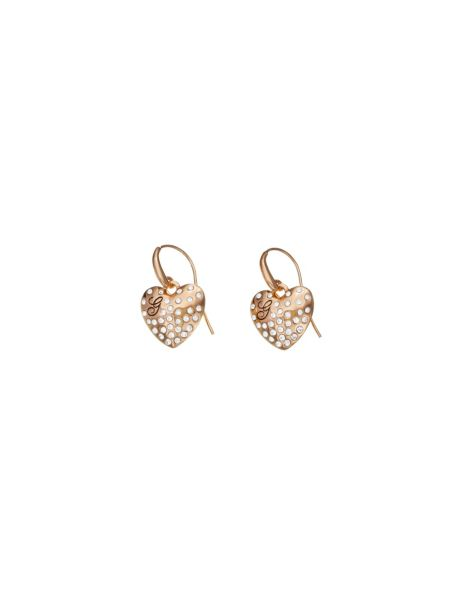 Glossy hearts small pave heart rose gold plated earrings.