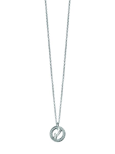 City of angeles logo disc rhodium-plated necklace.