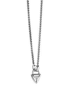 The Secret Key Triangle Lock Rhodium-Plated Necklace