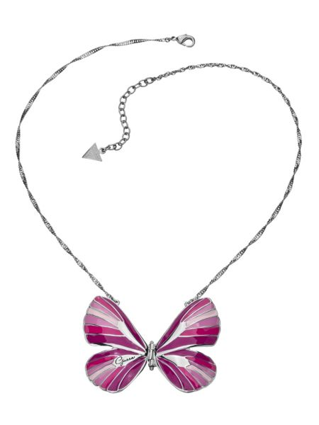 Enamel pink butterfly necklace.