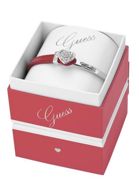 Heart red leather bracelet box set.