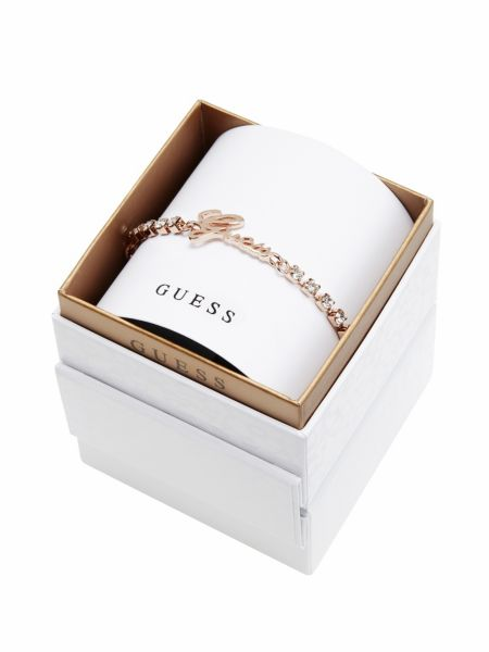 My guess in a box logo stones rose gold-plated bracelet.