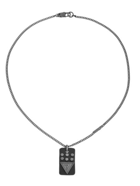 Rivited tag necklace.