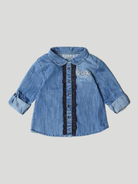 Jeansbluse Volants Spitze - Guess