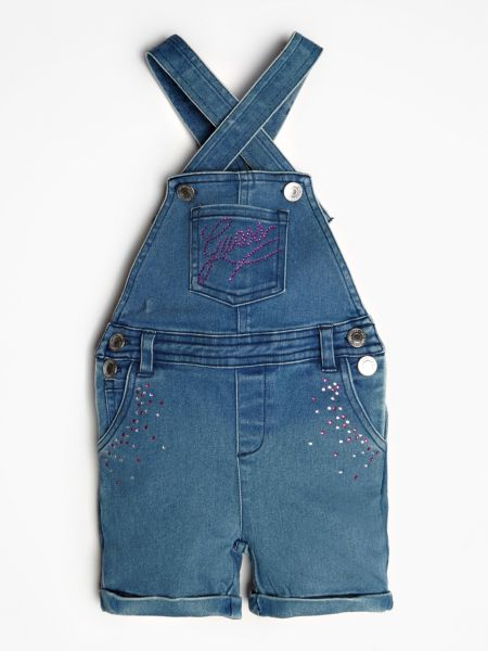 Jeans-Latzhose Applikationen | Bekleidung > Jeans > Latzjeans | Mehrfarbig -  grundton blau | Jeans - Baumwolle - Polyester | Guess