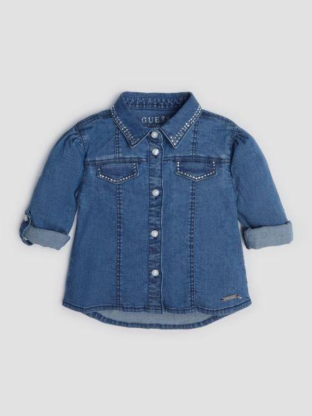Jeansbluse Nietenapplikation | Bekleidung > Blusen > Jeansblusen | Dunkelblau | Baumwolle | Guess