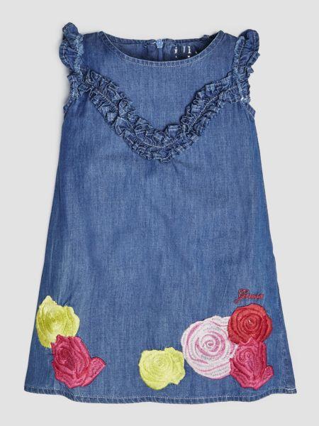 Jeanskleid Blumenstickerei | Bekleidung > Kleider > Jeanskleider | Mehrfarbig -  grundton blau | Guess
