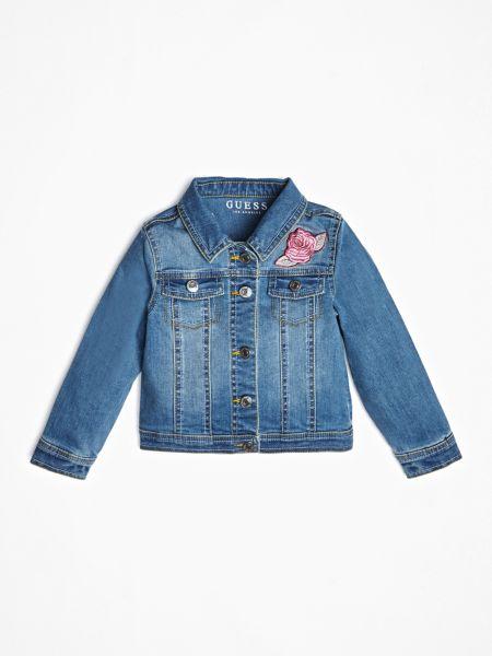 Jeansjacke Rosenprint | Bekleidung > Jacken > Jeansjacken | Blau | Baumwolle | Guess