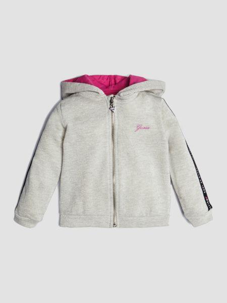 Sweatjacke Kapuze Logo | Bekleidung > Sweatshirts & -jacken > Sweatjacken | Hellgrau | Baumwolle | Guess