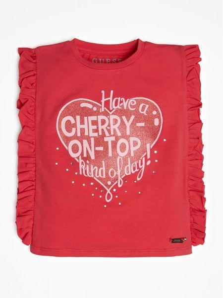 T-Shirt Frontprint   Bekleidung > Shirts > T-Shirts   Rot   Baumwolle   Guess
