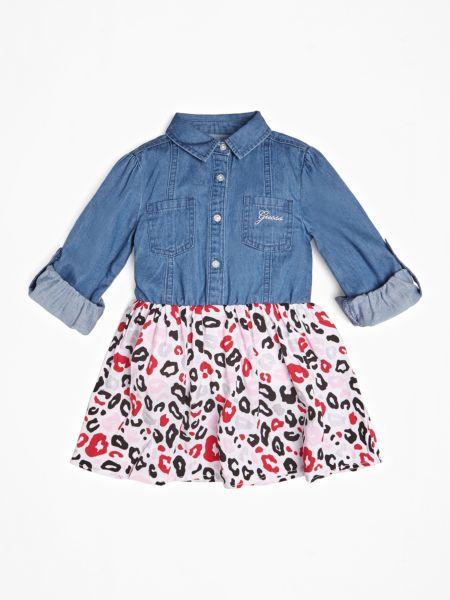 Jeanskleid Animalprint | Bekleidung > Kleider > Jeanskleider | Mehrfarbig -  grundton blau | Guess