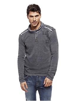 Sweat-shirt coton mélangé teinture irrégulière