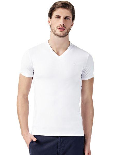T-Shirt Scollo A V Dettaglio Logo
