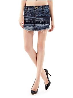 Aztec print denimi mini skirt
