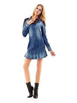 Lace details denim dress