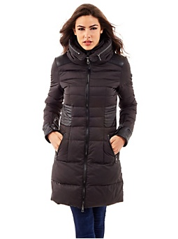 Hooded quilted long jacket