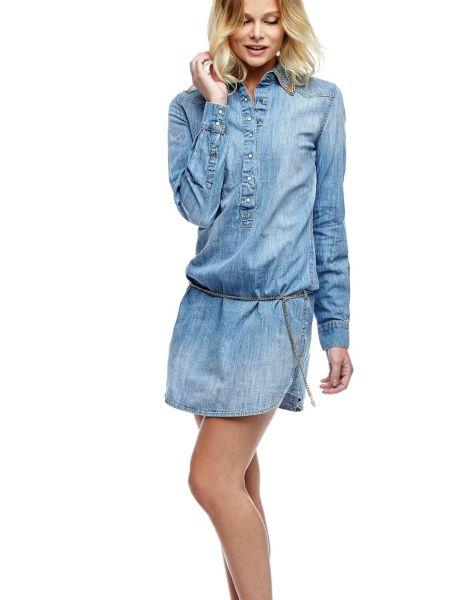 Robe en jean col chaine