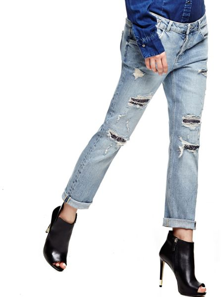 Jeans Abrasioni Con Pizzo