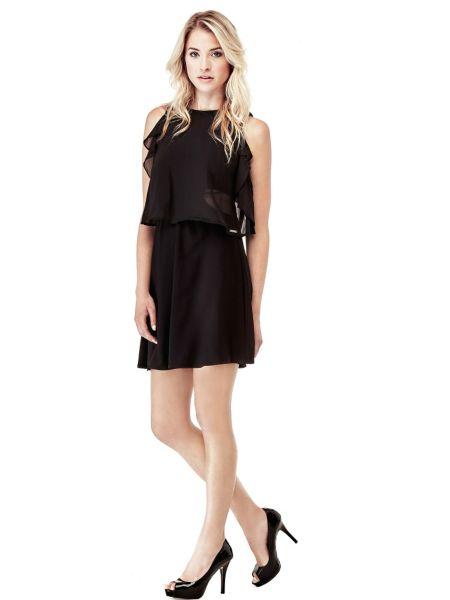 Kleid Aus Fliessendem Stoff Volants - Guess
