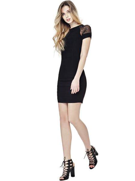 Kleid Ärmel Mit Mikro-Nieten - Guess