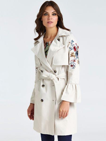 Trenchcoat Stickereien Ärmel | Bekleidung > Mäntel > Trenchcoats | Weiß | Baumwolle | Guess
