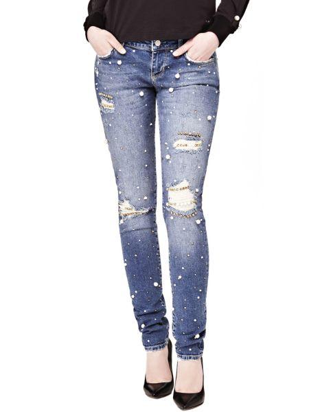 Jeans Applicazioni Perle Strappi